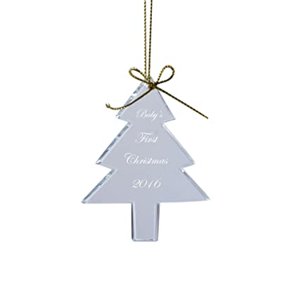 LONGWIN Personalized Glass Christmas Tree Shaped Ornaments Baby's First  Christmas - Amazon.com: LONGWIN Personalized Glass Christmas Tree Shaped