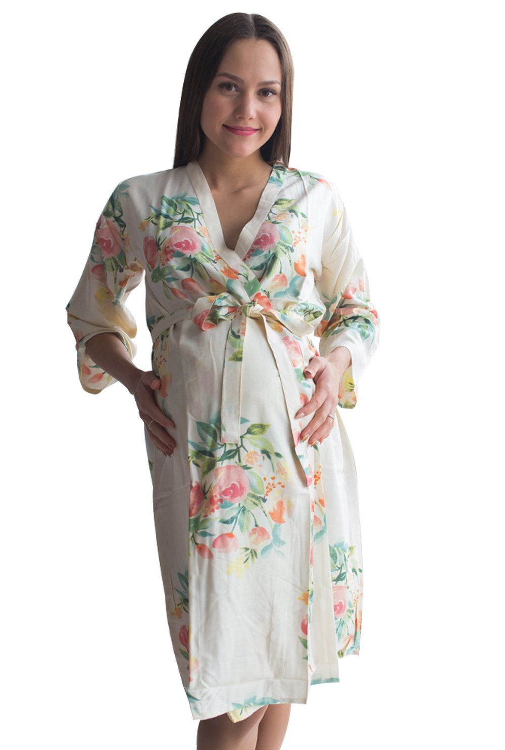 My Growing Belly Cream Floral Maternity Robe - Perfect as Hospital Gown, Labor & birthing Gown, Nursing Robe (2Xlarge, Cream Dreamy Angel Song)