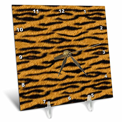 3dRose dc_20339_1 Orange Tiger Animal Print Desk Clock, 6 by 6-Inch by 3dRose