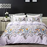 Bohemian Duvet Cover Set Colorful Paisley Bedding Floral Pattern King Size-3 Pieces(1 Duvet Cover + 2 Pillowcases)-120 gsm Soft Microfiber Boho Bedding Set by Moreover (King)