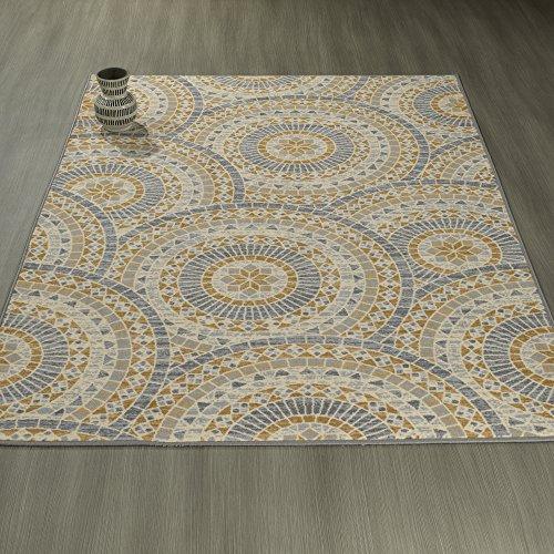 Ottomanson Studio Collection Mosaic Medallion Design Area Rug, 5'0