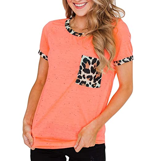 d3ecd68f690b OrchidAmor 2019 Fashion Womens Ladies Short Sleeve Leopard Print Pocket Tee Casual  Blouse Top at Amazon Women's Clothing store: