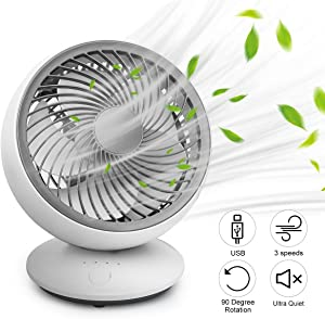Desktop Fan, Mini USB Adjustable Head Fans 3 Speed Cooling Quiet Table Fan, Portable Desk Fan 90° Rotatable Oscillating Small Fan for Home Office Bedroom by ICARE