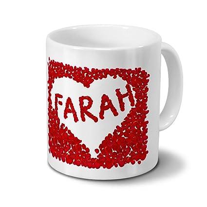 Farah Name Mug With Design Transfer Rose Heart Name Coffee