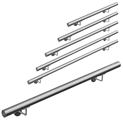 Pasamanos acero inoxidable 316 barandilla baranda pasamanos para pared pared escalera Montaje 50 - 600 cm V2Aox, Length:100 cm
