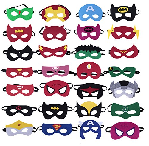 QWER Superheroes Party Masks for Children- 28 pack Superhero Masks- Perfect for Children Aged 3+
