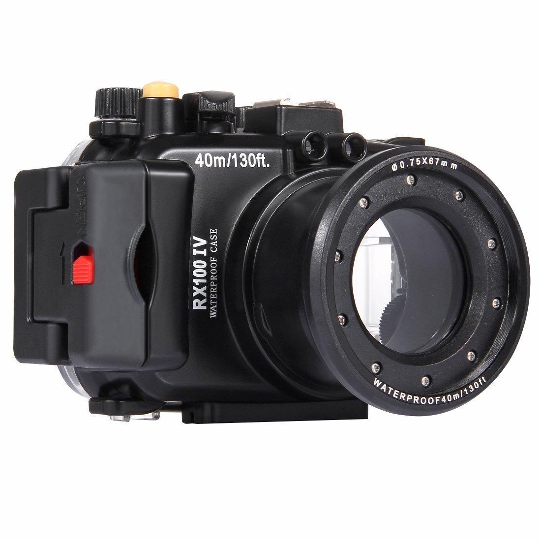水中深度ダイビングケース PULUZ 40m水中深さダイビングケース防水カメラハウジングSony RX100 IV(ブラック)   B07RKFTWQJ
