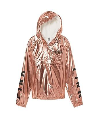 fd21bd7ff2961 Victoria's Secret Pink Quarter Zip Cozy Sherpa Hoodie Anorak Jacket Rose  Gold