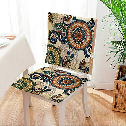 - Miki home Seat Set Cushion Vector Floral Ethnic Decorative Background Template Frame Design for Card with Place for Your Text 2 Piece Classic Decorative Chair pad Mat:W17 x H17/Backrest:W17 x H36
