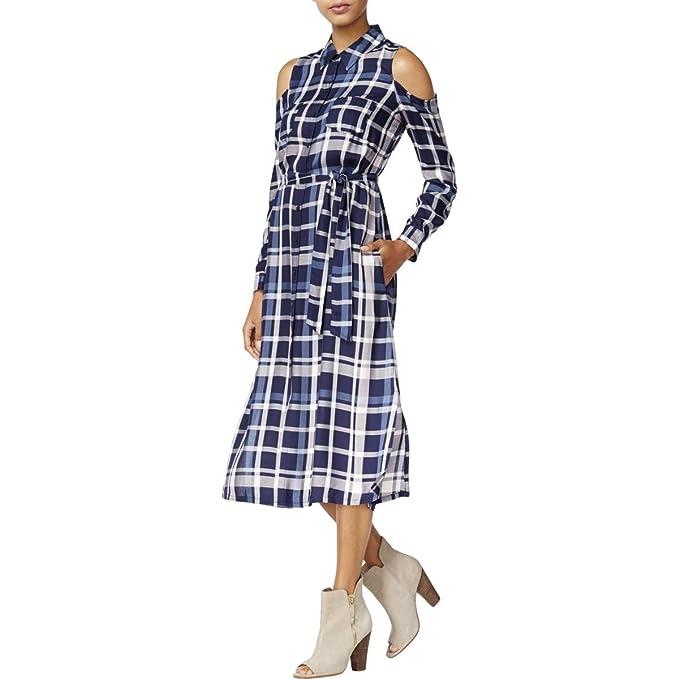 Amazon.com: Maison Jules para mujer Plaid frío hombro ...