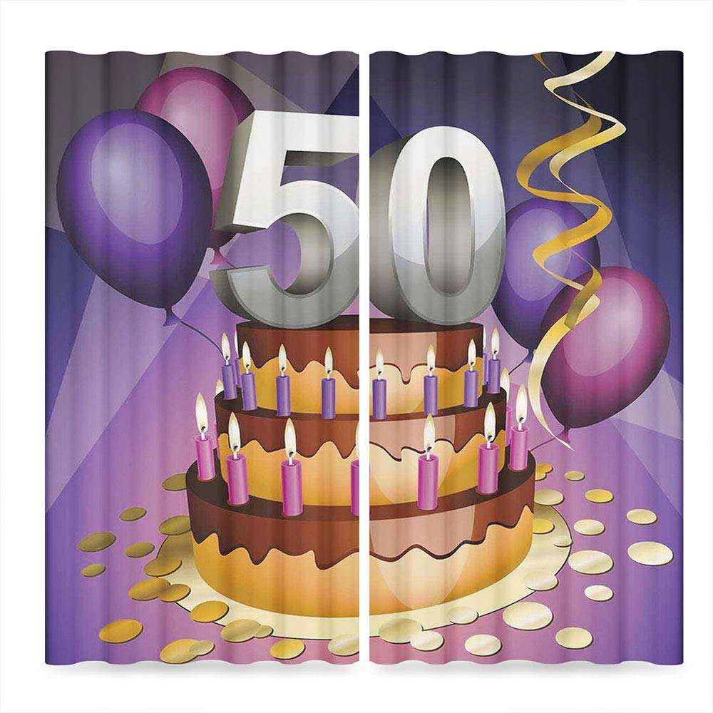 Window Blackout Curtains,50th Birthday Decorations for Living Room,Creamy Cake with Many Candles and Numbers Balloons Ribbons,141Wx94L Inches by TecBillion (Image #2)