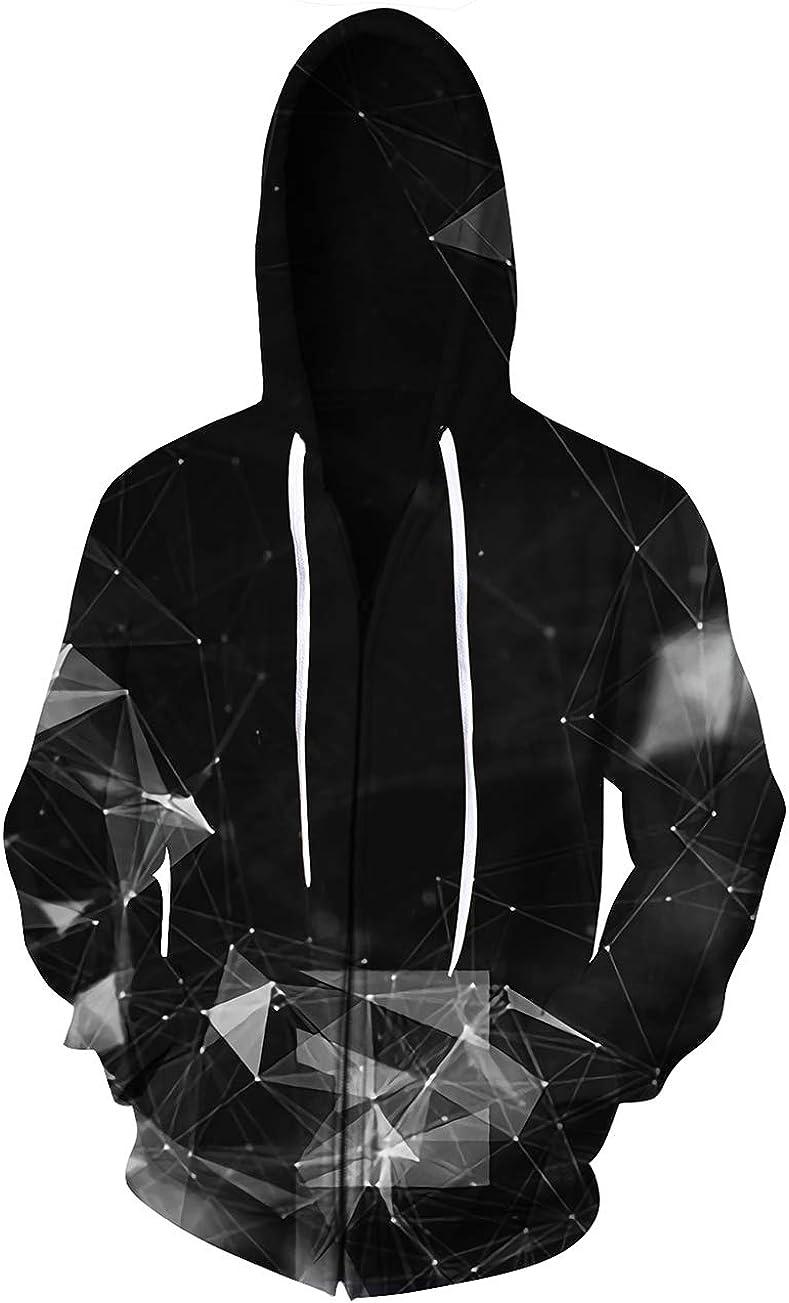 ALISISTER Unisexe Zip Up Hoodie Cool 3D Sweat /à Capuche /à Manches Longues Sweatshirts avec des Poches M-XXL