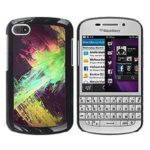 For BlackBerry Q10 Case , Green Pink Yellow Black Spots - Diseño Patrón Teléfono Caso Cubierta Case Bumper Duro Protección Case Cover Funda