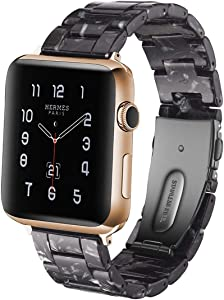 F-wheel Resin Watch Band 42mm 44mm Compatible with Apple Replacement Band Women Men Series 4/3/2/1,for Party,Work,Date,Running, iWatch Strap with Stainless Steel Buckle(Black & White 42MM)