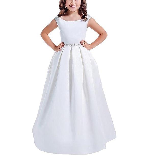 Amazon.com: Gzcdress - Vestido de primera comunión blanco ...