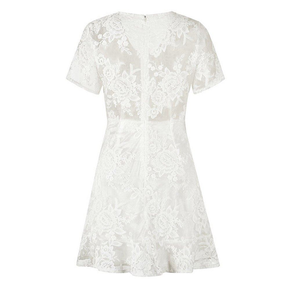 d80973afc41 Amazon.com: Women Tunic Tops Dresses On Sale Lady Lace Elegant Sheer Short  Sleeve Prom Evening Party Cocktail Mini Dress: Clothing