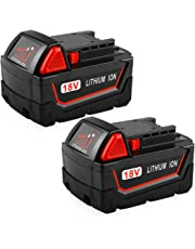 Powilling 2Pack 18V 5.0Ah Replacement M18 Battery for Milwaukee Red Lithium XC M18 48-11-1815 48-11-1820 48-11-1828 48-11-1850 Cordless Toos