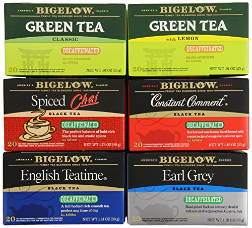 Bigelow Mixed Decaf Teas 120 Count Decaffeinated Individual Green Tea and Black Tea Bags