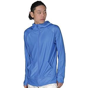 PONTAPES(ポンタペス) ラッシュガード パーカー メンズ 全20色 PR-4200 ロイヤル S 長袖 UVカット UPF50 + 水着 ラッシュパーカー ランニング ブルー 青色 無地