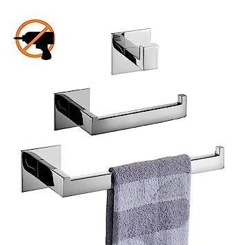 HomeT Badezimmer-Zubehör ohne Bohren,304 SUS Edelstahl für Bad Und  Chrom-Finish Handtuchhaken+Handtuchring+Toilettenpapierhalter