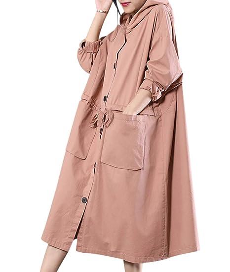 ac65c80aebf YESNO WR2 Women Long Casual Hooded Jacket Plus Size Lightweight Windbreaker  Drawstring Waist Big Pockets Pink