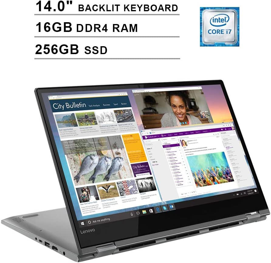 2020 Lenovo Flex 6 14 Inch 2-in-1 Touchscreen FHD 1080P Laptop (8th Gen Inter 4-Core i7-8550U up to 4.0GHz, 16GB DDR4 RAM, 256GB SSD, Intel HD Graphics 620, Backlit KB, WiFi, Bluetooth, Windows 10)
