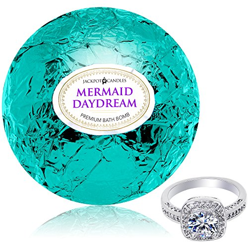 Mermaid Lip Pearls - Bath Bomb with Ring Inside Mermaid Daydream Extra Large 10 oz. Made in USA (Surprise)
