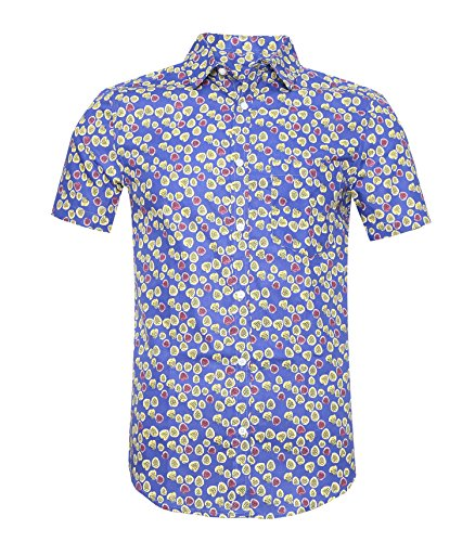 AVANZADA Men's Floral Prints Short Sleeve Button Down Modern Fit Woven Shirt