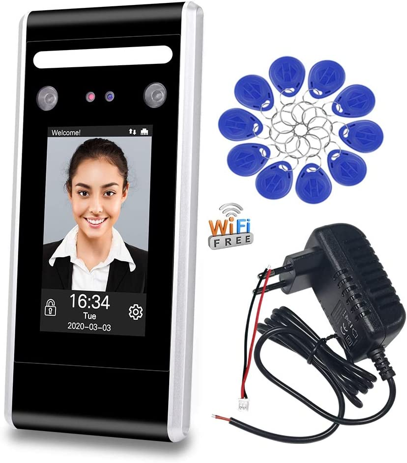 LIBO WiFi Dynamic Facial Access Control Time and Attendance Machine Biometric Infrared Face Recognition Time Clock TCP/IP Network USB Download/Upload with 125KHz/13.56MHz RFID Key fobs (DT60-WK)