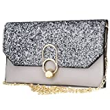 Women's Evening Envelope Clutch Bags Wristlet Purse Handbag with Adjustable Strap (Light grey)