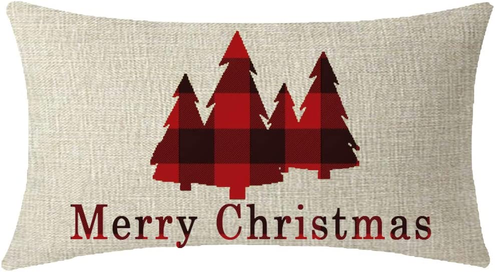 NIDITW Sister Vintage Black and Red Buffalo Checkers Plaids Merry Christmas Tree Lumbar Waist Cotton Linen Decorative Throw Pillow Cove Cushion Case Sofa Outdoor Oblong 12x20 inches