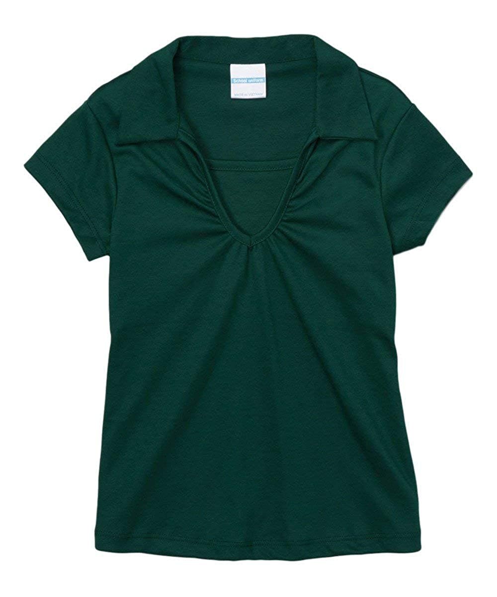 iGirldress Girl's School Uniform V-Neck Collar Shirt Short Sleeve UNGSU03