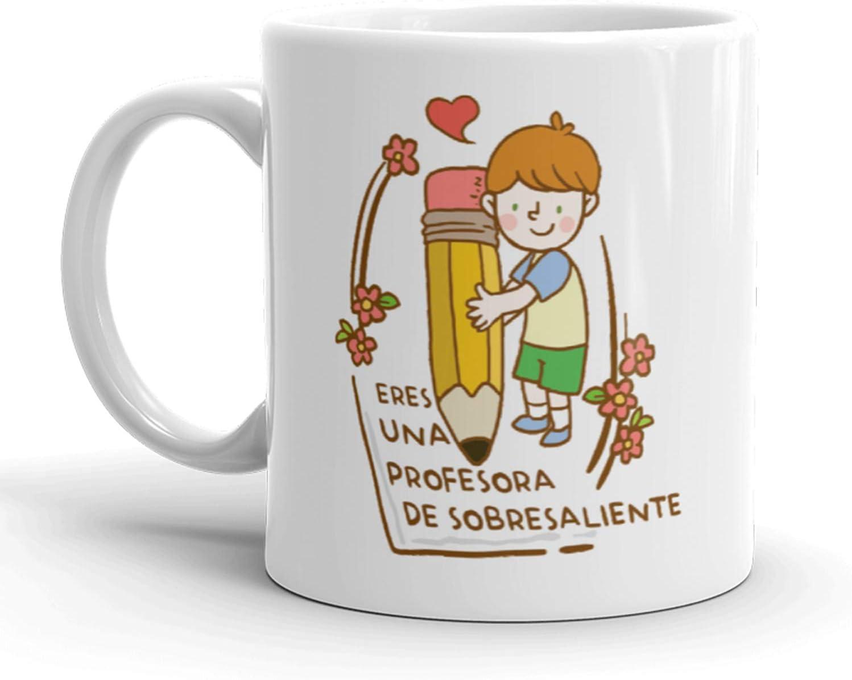 Kembilove Tazas de Desayuno para Profesores – Tazas de Café con Mensaje para Eres una Profesora de sobresaliente – Tazas de Té Ideal para Regalar a Profesores, Fin de Curso – Taza de 350 ml