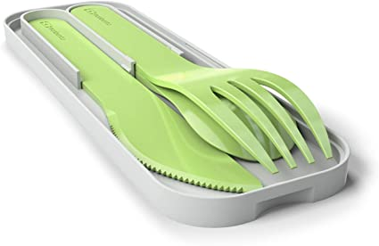 monbento - MB Pocket Color Verde Apple Cubiertos para Llevar con Estuche Biodegradable - Cubiertos portatiles con 3 Piezas Cuchillo, Cuchara - Ideal ...