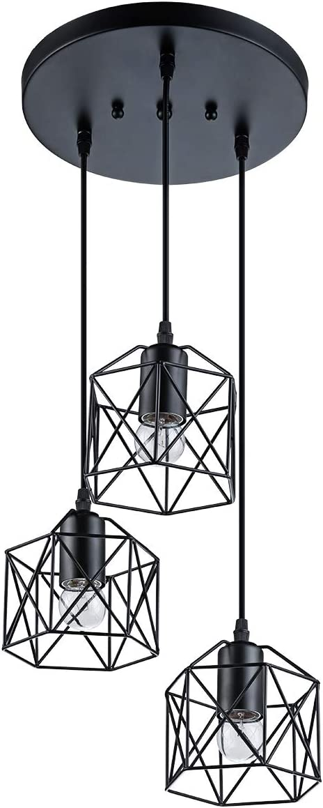 Industrial 3-Light Pendant Lighting, with Black Metal Cage Shade, Adjustable Pendant Light for Kitchen Living Room Bedroom Hallway or Bar