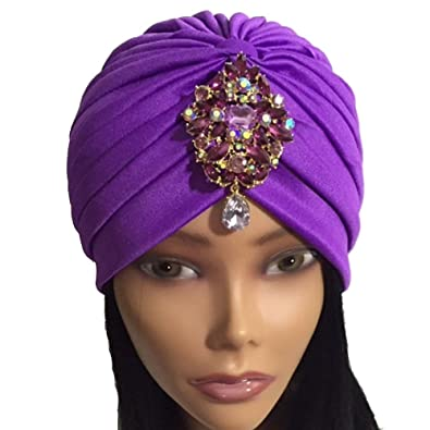 Purple Jeweled Turban Great Gatsby Bohemian Boho Turbanista Chic Turban Glamour Gems Grecian Gypsy