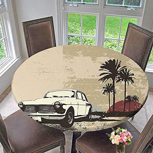 Round Tablecloth Classic Car with Hawaiian Miami City likeBackdrop Tan Coconut Dried Rose for Kitchen 67