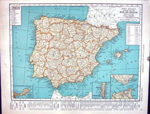 Rand Mcnally España Portugal Gibraltar Alemania del Mapa 1936 de la Antigüedad del Minero: Amazon.es: Hogar