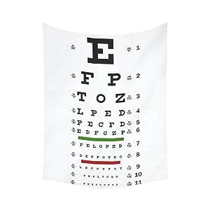 InterestPrint Educational Wall Art Home Decor, Eye Chart Cotton Linen Tapestry Wall Hanging Art Sets 60 X 80 Inches