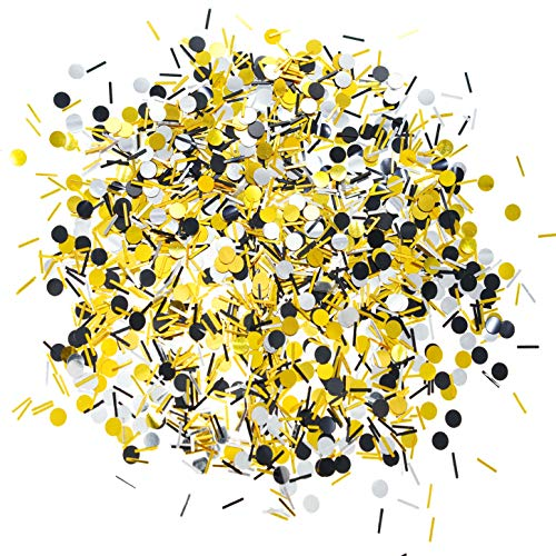 Black Gold Party Table Confetti - Wedding Anniversary Bachelorette Graduation Party Baby Shower Birthday Party Foil Metallic Sequins Sprinkles Confetti Decorations, 60g]()