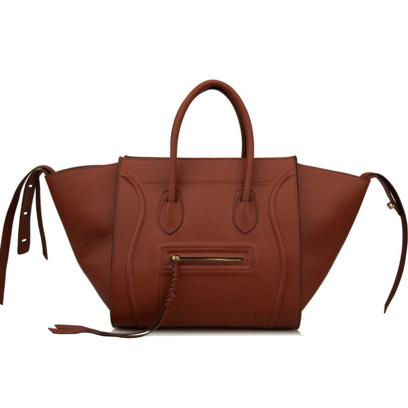 Ainifeel Women's Genuine Leather Bat Oversize Tote Bag Purse Handbags (X-large (Oversize), Brownish red)