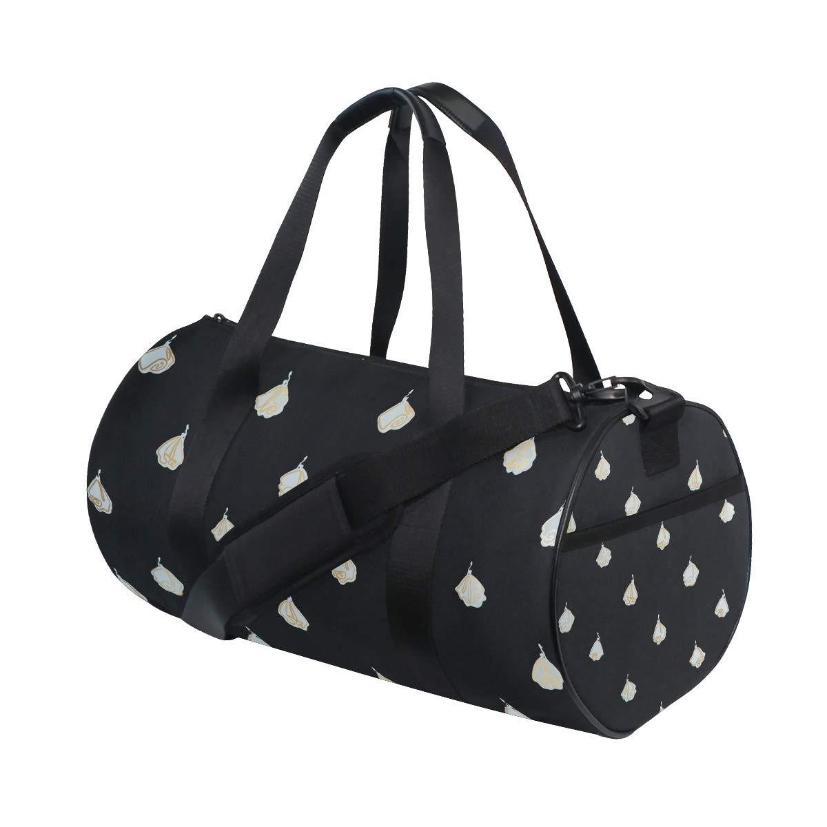 OuLian Gym Bag Most Beautiful White Roses Women Canvas Duffel Bag Cute Sports Bag for Girls