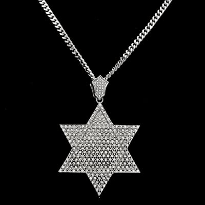 RENYZ.ZKHN Necklaces Of Black Hip Hop Necklaces, Male And Female, Six Awn Star Six Corner Star Full Drill, Hip-Hop Necklace, Full Drill Pendant, Six Horns Full Drilled Pendant, Six Angle Star Pendant