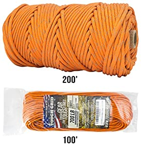 TOUGH-GRID NEW 700lb Double-Reflective Paracord/Parachute Cord - 2 Vibrant Retro-Reflective Strands for the Ultimate High-Visibility Cord - 100% Nylon - Made In USA - 100Ft. Neon Orange Reflective