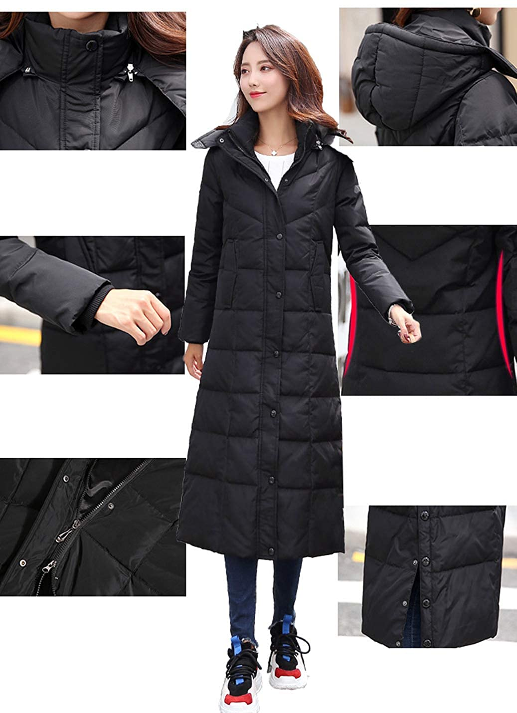 Gihuo Womens Hooded Maxi Down Coat