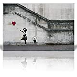 Wall26 Canvas Print Wall Art – There is always hope – Girl and red heart balloon – Street Art – Guerilla – Banksy Street Artwork on Canvas Stretched Gallery Wrap. Ready to Hang – 24 x 36 inches Picture