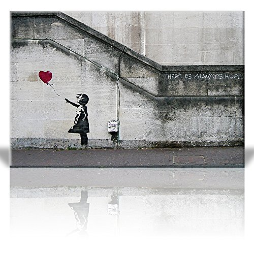 Wall26 Canvas Print Wall Art - There is always hope - Girl and red heart balloon - Street Art - Guerilla - Banksy Street Artwork on Canvas Stretched Gallery Wrap. Ready to Hang - 16 x 24 inches
