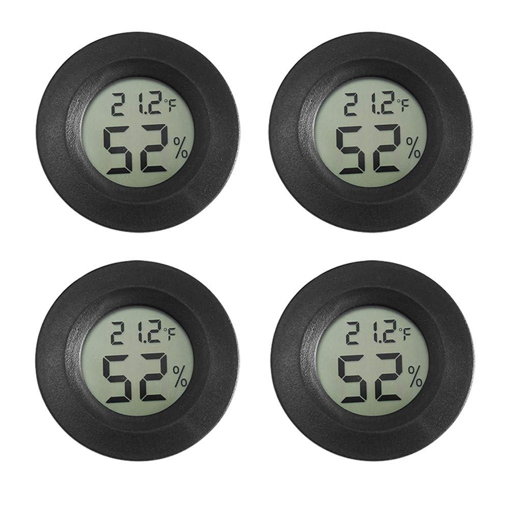AUTIDEFY Digital Reptile Thermometer Gauge Terrarium Hygrometer Home Humidifiers Car Greenhouse Babyroom, Black Round, Centigrade Convertible Fahrenheit (4PCS) (4pack)