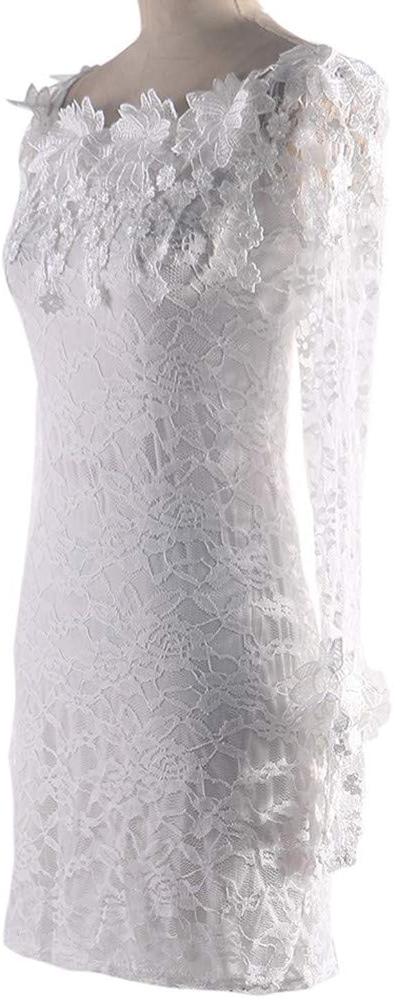 Vestido Fiesta Corto Mini Sexy Ajustado para Mujer Otoño Invierno,PAOLIAN Vestido para Boda de Novia Encaje Manga Larga Hombro Descubierto Vestido de la Cadera Mujer Blanco Primavera: Amazon.es: Ropa y accesorios