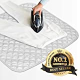 "Eutuxia Ironing Mat, Blanket. Alternative to Iron Board. Quilted, Breathable, Washer and Dryer Safe Heat Resistant Pad with Magnetic Corners. Use on Any Flat Metallic Surface [23"" x 20.5""]"